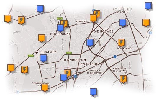 Map of Centurion & Surrounding Accommodation